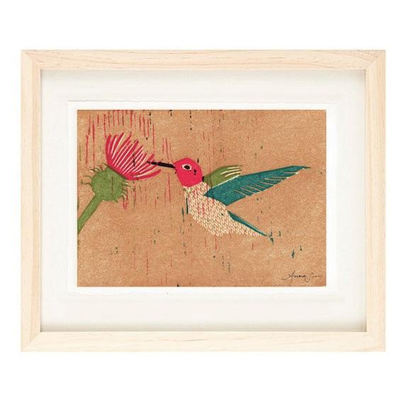 ANNA'S HUMMINGBIRD Linocut Reproduction Illustration Art Print: 4 x 6, 5 x 7