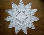 Large Crochet Doily White Cotton Lace Pineapple Pattern Heirloom Quality