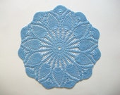 Blue Crochet Doily Cotton Center Piece with Pineapple and Fan Pattern Heirloom Quality