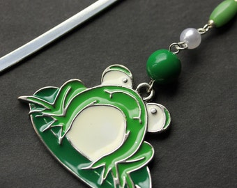 Green Frog Book Charm. Beaded Bookmark. Frog Bookmark. Book Hook Bookmark. Handmade Bookmark.