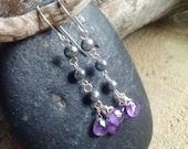 Purple Rain Earrings - Amethyst & freshwater pearl