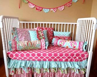 SALE- Pink Tarika- 3 Tiered Ruffle Bumperless Crib Set- 2 pieces