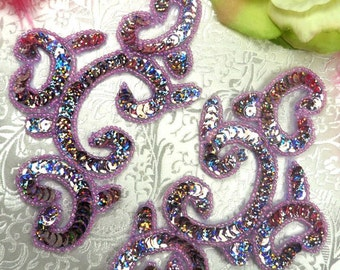"0242 Appliques Mirror Pair Lavender Holographic Sequin Beaded 6"" (0242x-lvh)"