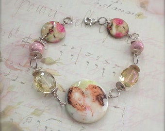 Stock Clearance MOP Bead Bracelet The Lovers Rose Coin Glass Bead Bracelet French Shabby Romantic Whimsical Style