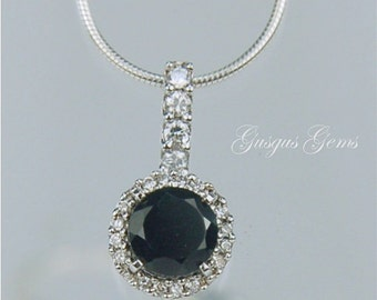 Black Spinel Necklace Sterling Silver 6mm Round 1ct With Cz Halo Natural Untreated