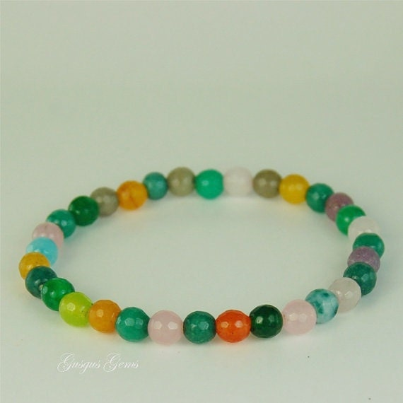 agate stretch bracelet multi colored 6mm beaded braclet