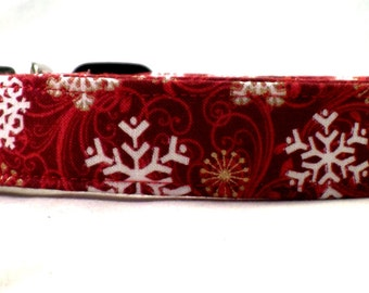Classy Christmas Gold and White Winter Snowflakes on Red Dog Collar