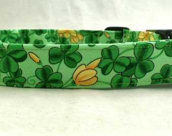 Luck of the Irish Shamrocks in Green with Gold Flowers on Green Dog Collar