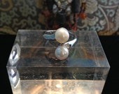 Silver plated Ring, Double Pearl Cups with flash freshwater pearls, adjustable to most sizes