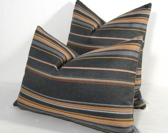 Modern Grey & Orange Pillow Cover, Decorative Outdoor Pillow Case, Striped Pillow Cover, Masculine Gray Stripe, Sunbrella Cushion Cover