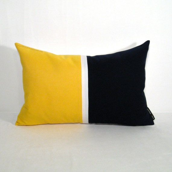 Items similar to Navy Blue & Yellow Pillow Cover, Modern Nautical Decor, Decorative Outdoor ...