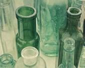 SALE 25% OFF Still Life Photography, Vintage Bottles, Kitchen Decor, Bathroom Wall Art, Bottle Green, Shabby Chic Decor - Ten Green Bottles