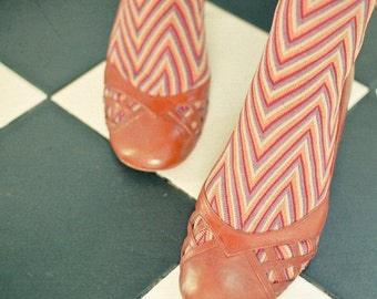 SALE 25% OFF Happy Feet - Portrait photography, shoe art, female feet, whimsical photography, mod, zig zag