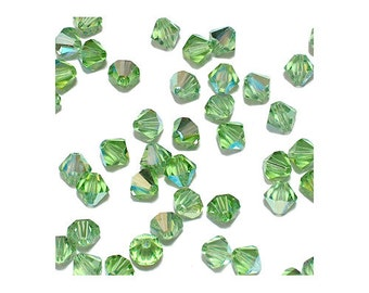 4mm Peridot AB Faceted Bicone Beads - 24 bead pack - Swarovski 5328 - transparent spring green - Austrian crystal jewelry beads