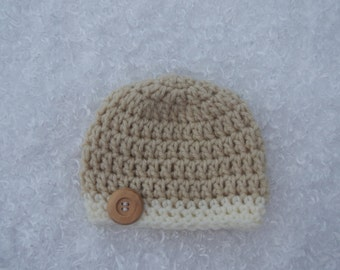Hand Crocheted Newborn Baby Boy Beanie Cap With Button