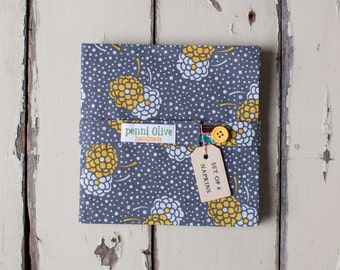 Set of 6 Gray and Yellow Chrysanthemum Cloth Napkins