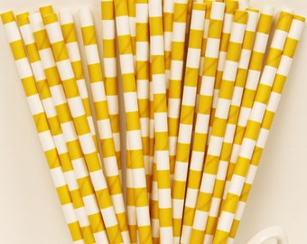 Paper Straws, 25 Yellow Sailor Striped Paper Drinking Straws, Yellow Paper Straws, Baby Shower, Birthday Party, Drink Straws, Weddings