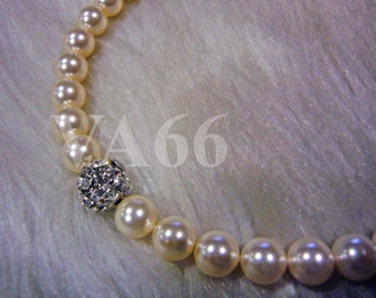 Classic Pearl Neklace with Fireball Cream Ivory Elegant 18KGP 8mm Swarovski Pearl Necklace 1 strand 18 Inches (45.6cm) 27 Colour Choices