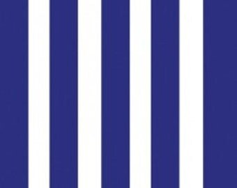 Ace Fabric by Camelot Cottons Rugby Stripe Stripes 0.5 Inches Wide in True Navy Blue and White