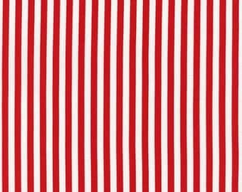 Nautical Fabric TT Patriotic Vertical Stripe Stripes Red and White