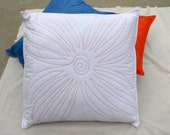 White Quilted Flower Throw Pillow