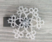Snowflake hair clip, Lace Snowflake, Winter Wedding, Winter Hair Fashion, Snowflake Accessory, Snowflake Hair Accessories, Snow Queen Hair