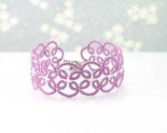 Radiant Orchid Lace Bracelet-Beaded Lace Bracelet-Tatted Lace Bracelet-Bridesmaid Bracelet-Wedding Bracelet-Bridesmaid Gift-Lace Wristlet
