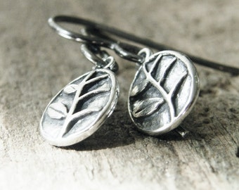tiny branch dangle earrings sterling silver two sided