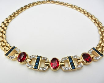 High End deco necklace 1970s - fantastic Italian jewelery, rubies and topaz blue crystals -A alluring necklace,by timeless charms-Art.895/2-
