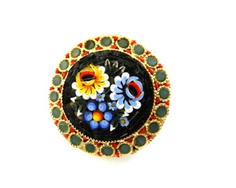 Vintage Italian 1950 - fabulous micro mosaic brooch ITALY brand - Italian Florentine Art---Art.347/3 -