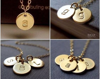 Initial Disc Necklace - Mommy Necklace - 14K Goldfilled...Choose Amount of Discs
