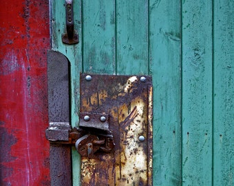 Barn Door No.4 - Square Fine Art Photo Print - Red, Green and Rusty - Gallery Quality Signed Limited Edition in Various Sizes and Finishes