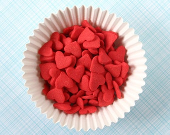 Red Heart Sprinkles, Valentine's Heart Sprinkles, Large Red Heart Confetti, Valentine's Sprinkles (3 ounces)
