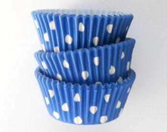 50 Blue Cupcake Liners, Blue Polka Dot Cupcake Liners, Designer Cupcake Liners, 4th of July Liners