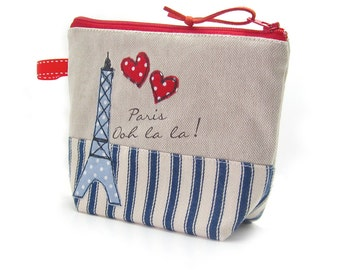 Cute Makeup Bag, Gift for Women, Cosmetic Case, Make Up Holder, Eiffel Tower Zip Pouch, Gift for Mum