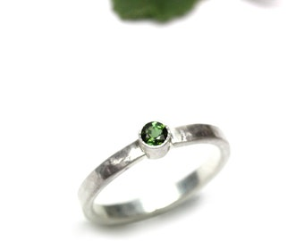 Lucky St. Patrick's Day Ring Dark Green Tourmaline Silver Delicate Four Leaf Clover Dot Hammered Band March Spring Design - L'il Pot of Luck