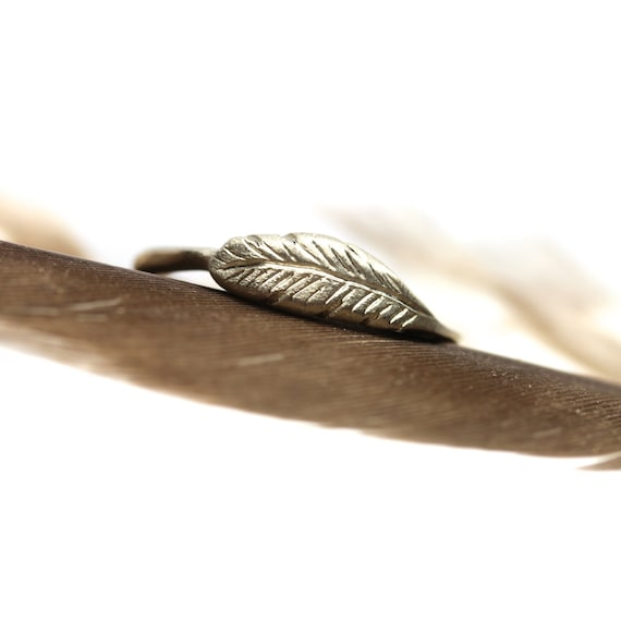 Woodland Feather Ring 14K White Gold Delicate Bird Wing Minimalistic Boho Stacking Band Wedding Bridal Bridesmaid Gift Idea - Feather's Gray