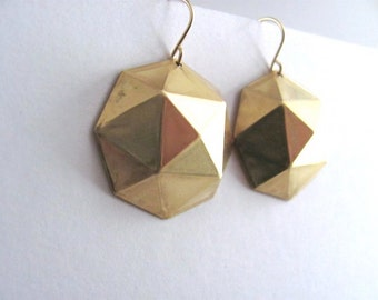 Raw brass round faceted geometric earrings on 14k gold plate fixtures, geometric jewelry