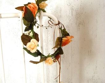 Golden flower crown, hair accessory, wedding head piece, floral crown