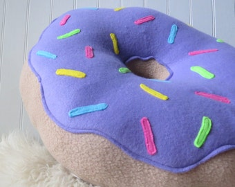 "16"" Purple Frosted Doughnut Pillow"