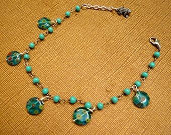 Anklet Ankle Bracelet Millefiori Beaded Acrylic Turquoise Color Ankle Bracelet