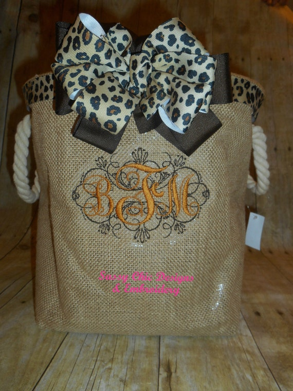 Personalized Burlap Tote Wedding Dog Toy Storage Bathroom