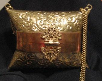 Ornate Brass and Copper Metal  Pillow Evening Handbag Purse