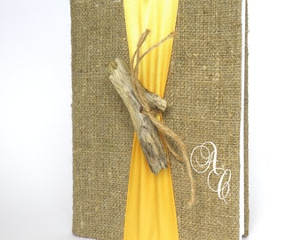 Personalized Wedding guest book  with Driftwood and colorful ribbon Burlap Linen Book or Bridal shower or engagement scrapbook