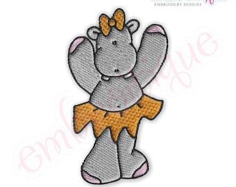 Ballet Hippos 7 - Instant Download -Digital Machine Embroidery Design