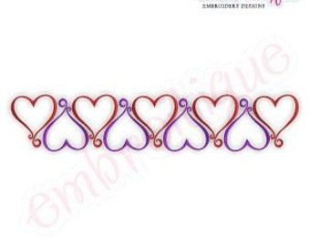 Curly Heart Line Embroidery Design- Instant Download Digital Files for Machine Embroidery
