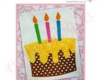 Simple Birthday Cake with Candles and icing  Applique- Instant Email Delivery Download Machine embroidery design
