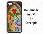 Beauty and the Beast wedding, Belle Disney phone case, stained glass mosaic, red rose, yellow dress, iPhone 4 4S 5 5S 6 Samsung Galaxy S5