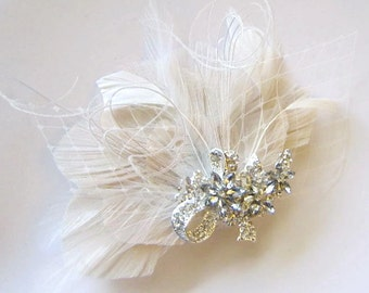Ivory Peacock Jeweled Bridal Peacock Feather Wedding Hair Fascinator Clip with Netting