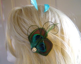EMERALD Peacock Feather Clip with Diamond Tipped Mermaid Blue Feathers with Rhinestone Bridal  Wedding Clip Bridesmaid Maid of Honor